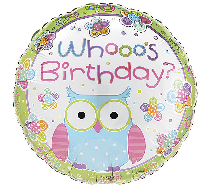 "17"" Pkg HBD Hootie Balloon, [Premier Gifts and Balloons], Balloons, Premier Gifts 'n Balloons"