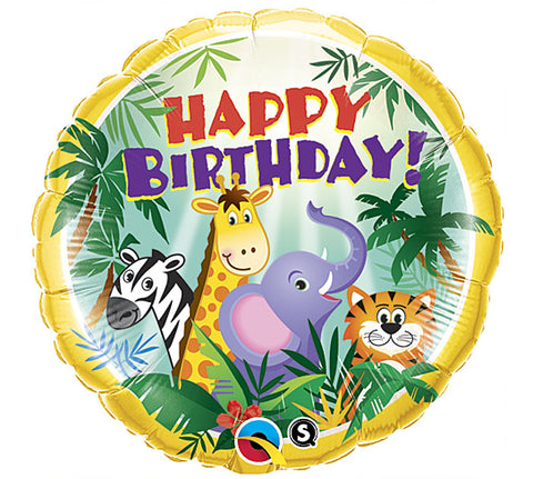 "18"" Pkg HBD Jungle Balloon, [Premier Gifts and Balloons], Balloons, Premier Gifts 'n Balloons"