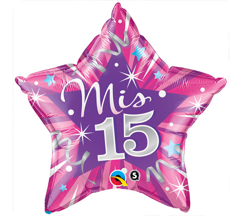 "20"" Spanish MIS 15 Star Balloon, [Premier Gifts and Balloons], Balloons, Premier Gifts 'n Balloons"