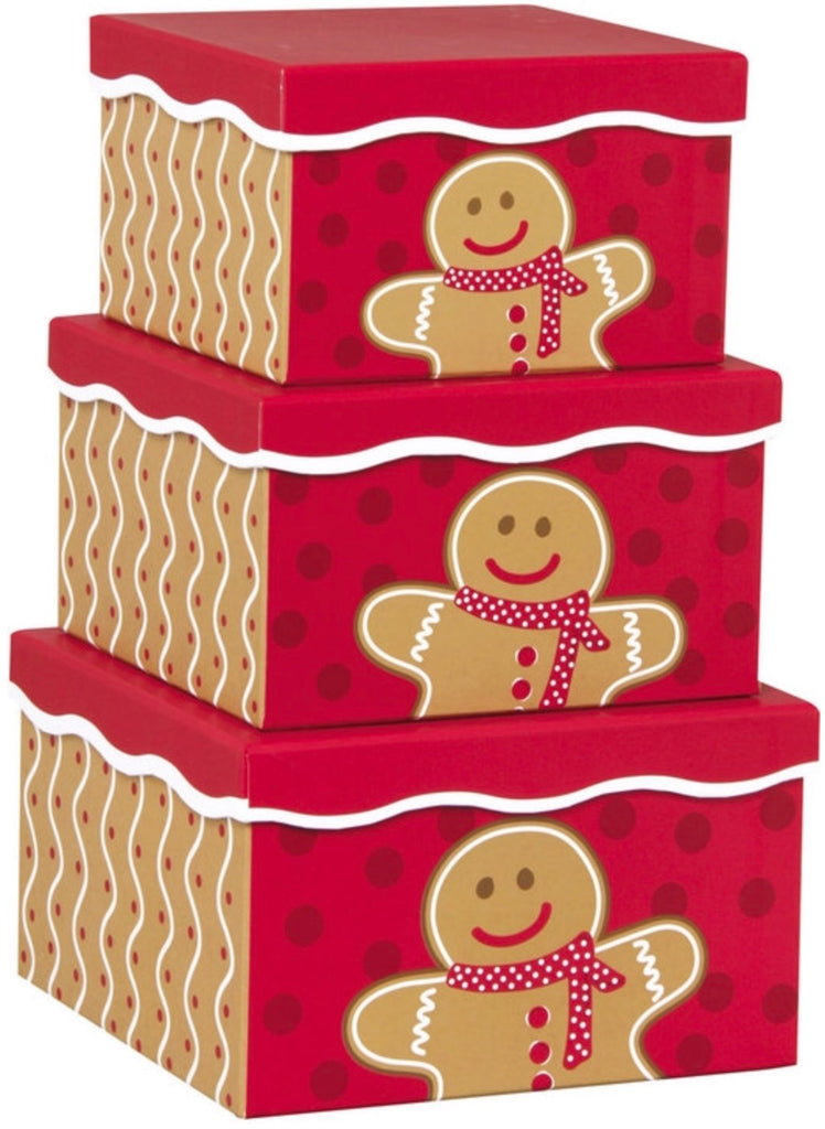 3 Tier Gingerbread Man Nested Box Set, [Premier Gifts and Balloons], Packaging, Premier Gifts 'n Balloons