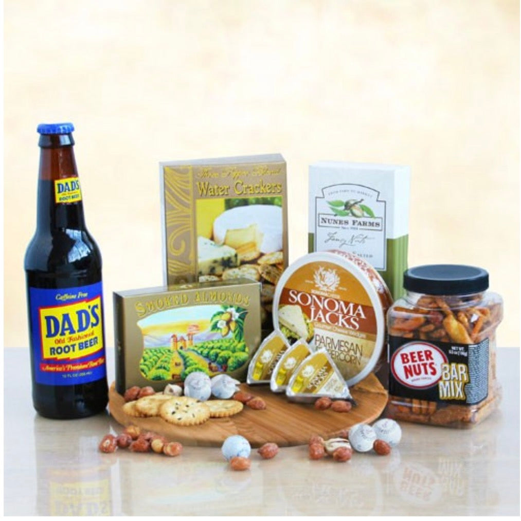 Dad's Snack and Savories Cutting Board, [Premier Gifts and Balloons], Gift Basket, Premier Gifts 'n Balloons
