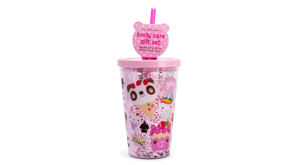 Pink Girls Body Care Gift Set Travel Cup