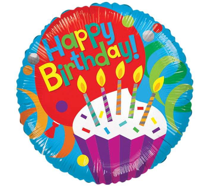 "9"" HBD Cupcake Candle Balloon, [Premier Gifts and Balloons], Balloons, Premier Gifts 'n Balloons"