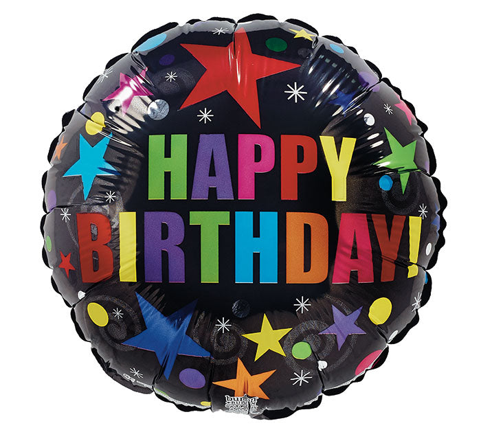 "9"" HBD Stars On Black Foil Balloon, [Premier Gifts and Balloons], Balloons, Premier Gifts 'n Balloons"