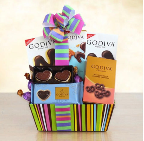 Godiva Rainbow Of Treats Basket, [Premier Gifts and Balloons], Gift Basket, Premier Gifts 'n Balloons