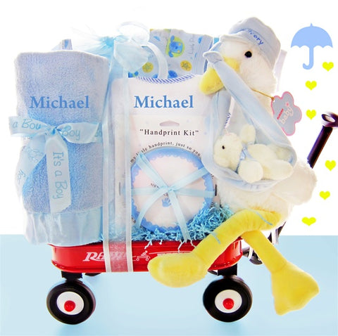 Look What The Stork Delivered Boy Gift Basket, [Premier Gifts and Balloons], Gift Basket, Premier Gifts 'n Balloons