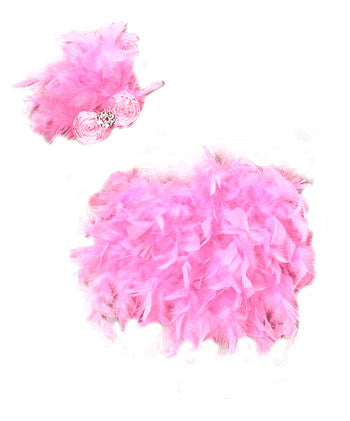 Pink Feather Baby Bloomer with Matching Headband