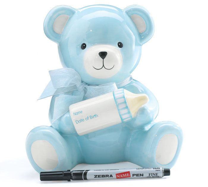 Baby Boy Bear Bank, [Premier Gifts and Balloons], Ceramic Gifts, Premier Gifts 'n Balloons