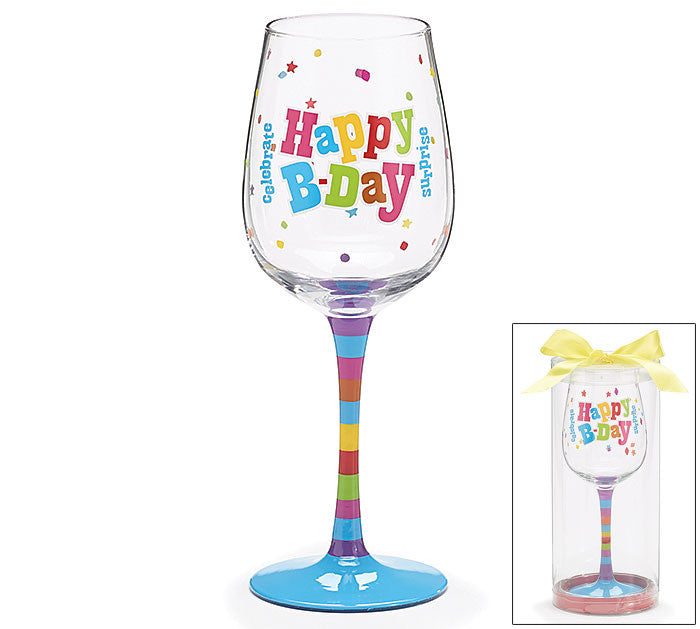 Happy BDay Wine Glass, [Premier Gifts and Balloons], Drinkware, Premier Gifts 'n Balloons