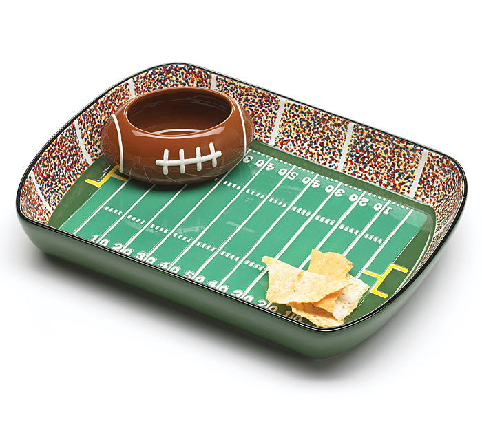 Football Stadium Chip and Dip Set, [Premier Gifts and Balloons], Ceramic Gifts, Premier Gifts 'n Balloons