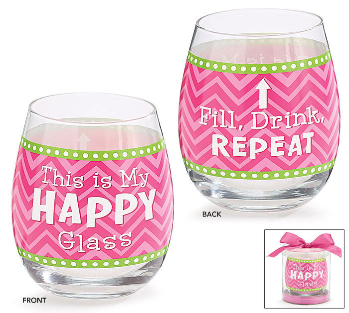 Happy Stemless Glass, [Premier Gifts and Balloons], Drinkware, Premier Gifts 'n Balloons
