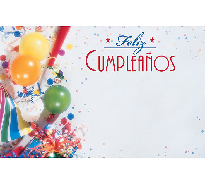 Feliz Cumpleanos (Spanish HBD) Enclosure Card, [Premier Gifts and Balloons], Paper Goods, Premier Gifts 'n Balloons