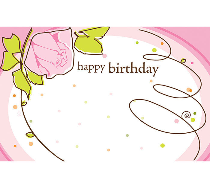 HBD Pink Roses Enclosure Card, [Premier Gifts and Balloons], Wrapping, Premier Gifts 'n Balloons