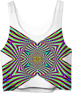 Crystal Cross Rainbow - Luxe Design Crop-Top