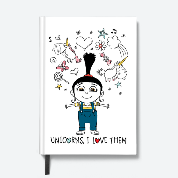 Despicable Me hardbound notebook- Unicorns, i love them