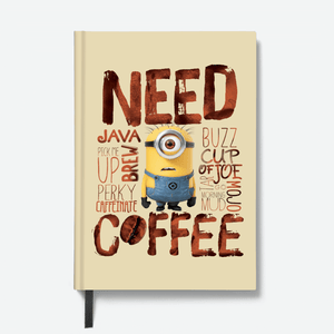 Hardbound Notebook - Need Coffee - Despicable Me/Minions