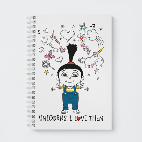 Wiro Notebook - Unicorns, I Love Them - Despicable Me/Minions