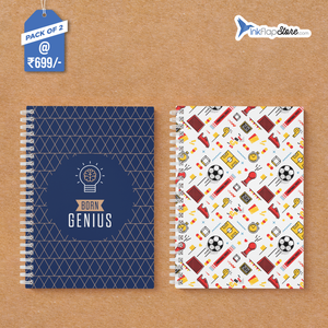 Born Genius & Football Pattern Combo - Pack of 2 - Wiro Notebooks