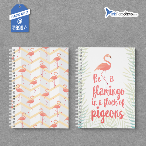 Flamingo Flock & Pattern Combo - Pack of 2 - Wiro Notebooks