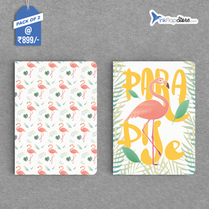 Flamingo Paradise & Leaf Pattern Combo - Pack of 2 - Softbound Notebooks