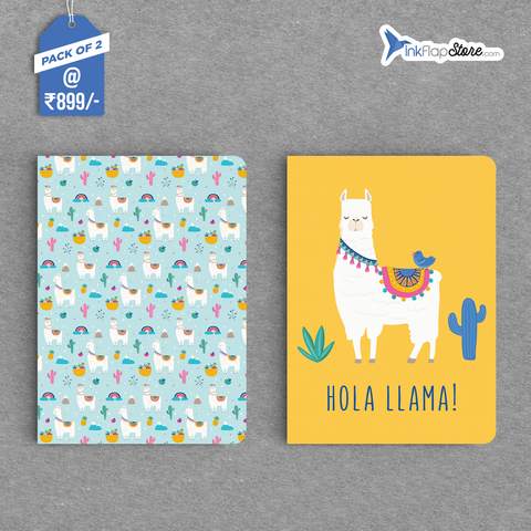 Hola Llama & Pattern Combo - Pack of 2 - Softbound Notebooks