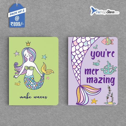 Mer-mazing & Make Waves Combo - Pack of 2 - Softbound Notebooks