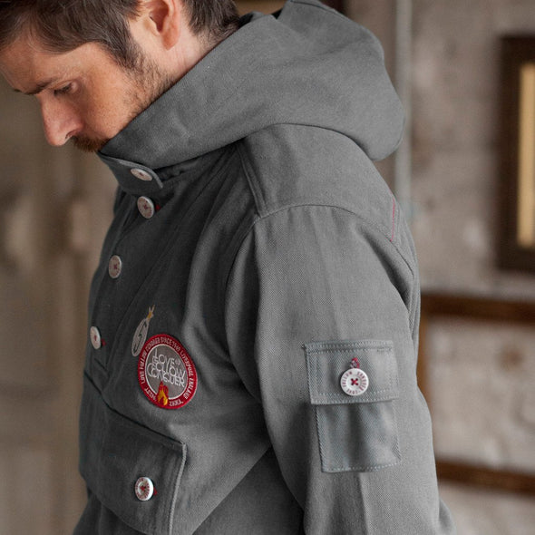 Smock Jacket side view Love Follow Conquer