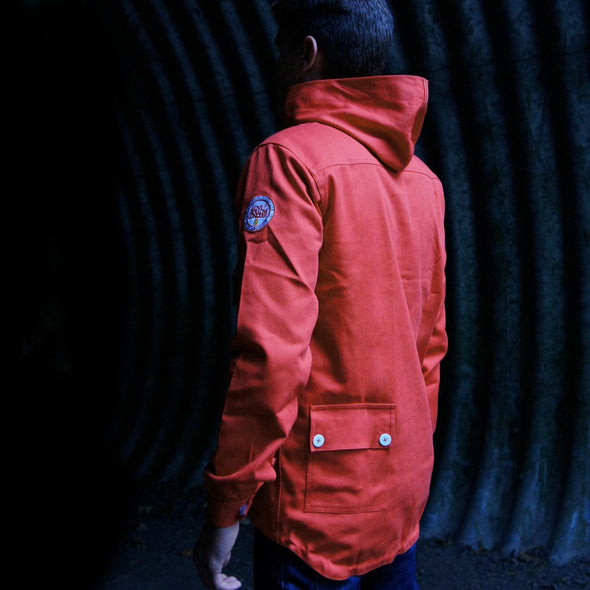 Red Awaydays smock jacket detail