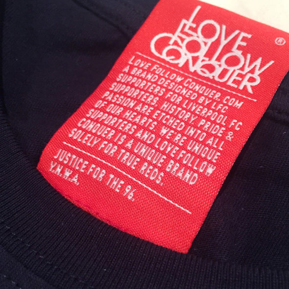 Label on Love Follow Conquer t-shirts - who we are