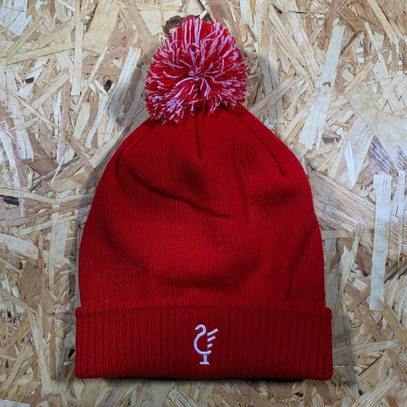 Scouse 77 bobble hat red