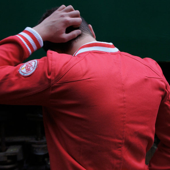 Shankly inspired track jacket in red