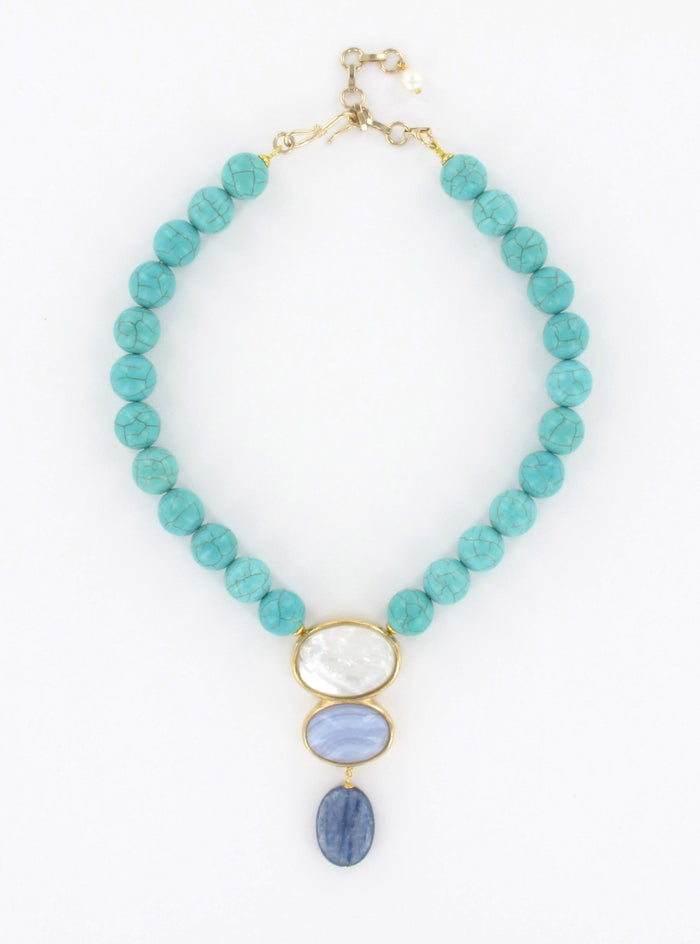 turquoise, calcedony, sodalite and mother-of-pearl necklace