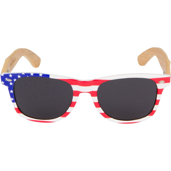 BAMBOO WOOD SUNGLASSES WITH AMERICAN FLAG PLASTIC FRAMES