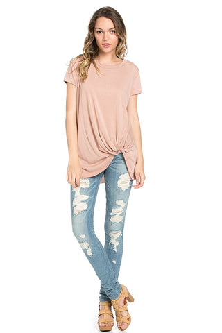 Basic Twist Front Cap Sleeve Top Dusty Pink