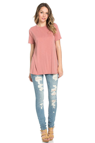 Basic Short Sleeve Modal Jersey Top with Side Slits Dusty Pink