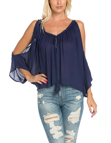 Cold Shoulder Top with Trim Detail
