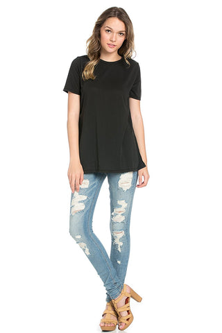 Basic Short Sleeve Modal Jersey Top with Side Slits Black