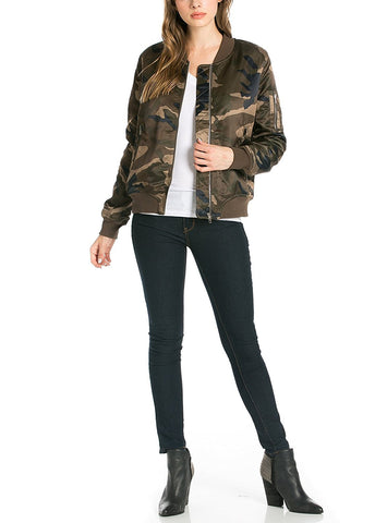 Camo Army Puffer Bomber Jacket