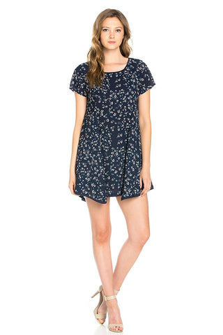 Contemporary Ditsy Flower Printed Mini Shift Dress