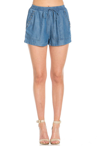 Casual Chambray Shorts with Lace Up Detail