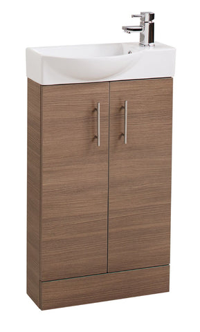 Oak Double Door 500mm Curved Mini Basin Unit
