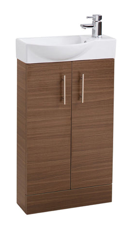 Walnut Double Door 500mm Curved Mini Basin Unit