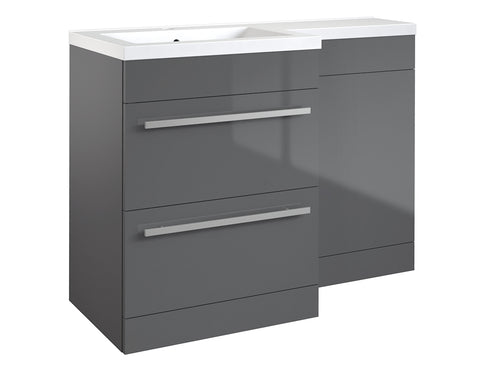 Matrix Grey Gloss 2 Drawer L-Shaped Furniture - 1100mm