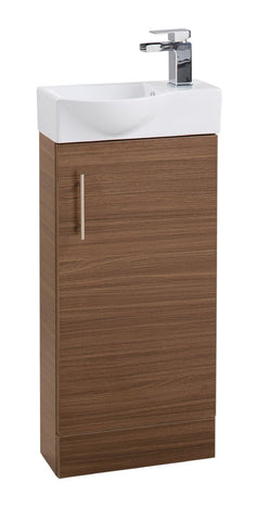Walnut Single Door 400mm Curved Mini Basin Unit