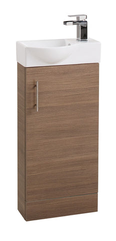 Oak Single Door 400mm Curved Mini Basin Unit