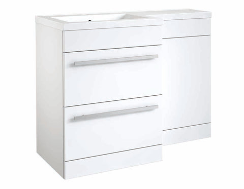 Matrix Gloss White 2 Drawer L-Shaped Furniture - 1100mm