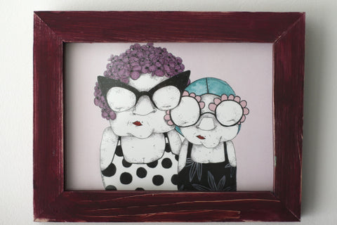 """Grannies"" framed print"