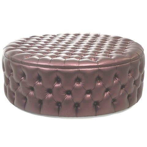 Luxury deep buttoned round leather ottoman
