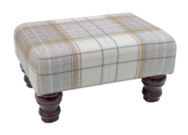 Natural Tartan Fabric Footstool with Mahogany Turned Legs