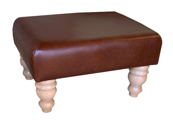 Aged Rust Leather Footstool with Natural Turned Legs